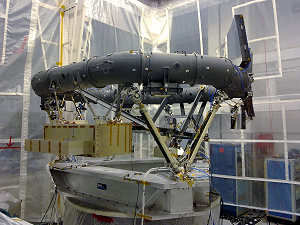 The Structural Model of the Gaia Payload Module in its X-axis test configuration at Intespace, Toulouse, France, during vibration testing. To verify the alignment, the optics of the Astro 1 telescope have been installed. © Astrium - France